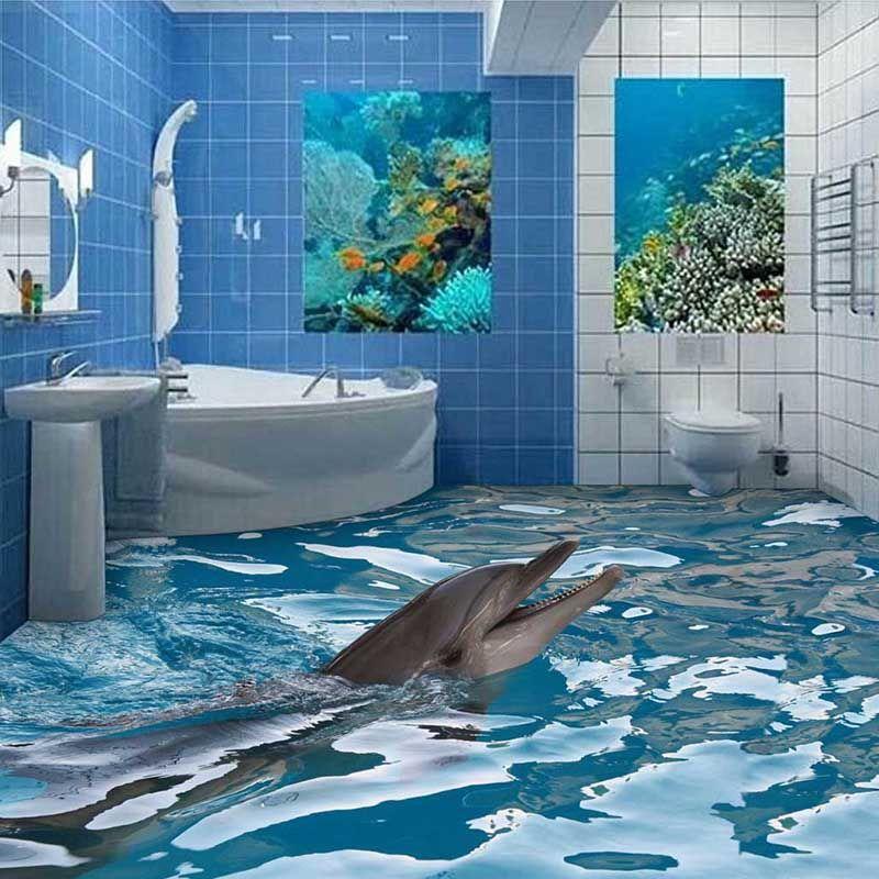 Best 2016 Wear Resisting 3D Mural Cartoon Dolphin Floor 400 x 300