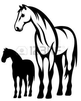 Beautiful Running Horse Vector Outline And Silhouette Black Black And White Illustration Horse Silhouette Horse Painting