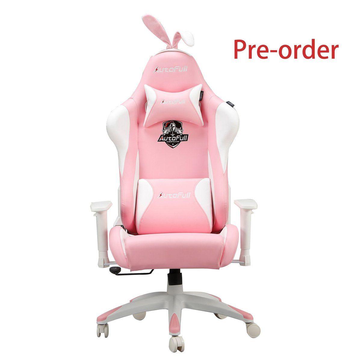 Autofull pink gaming chair with bunny azul tifani