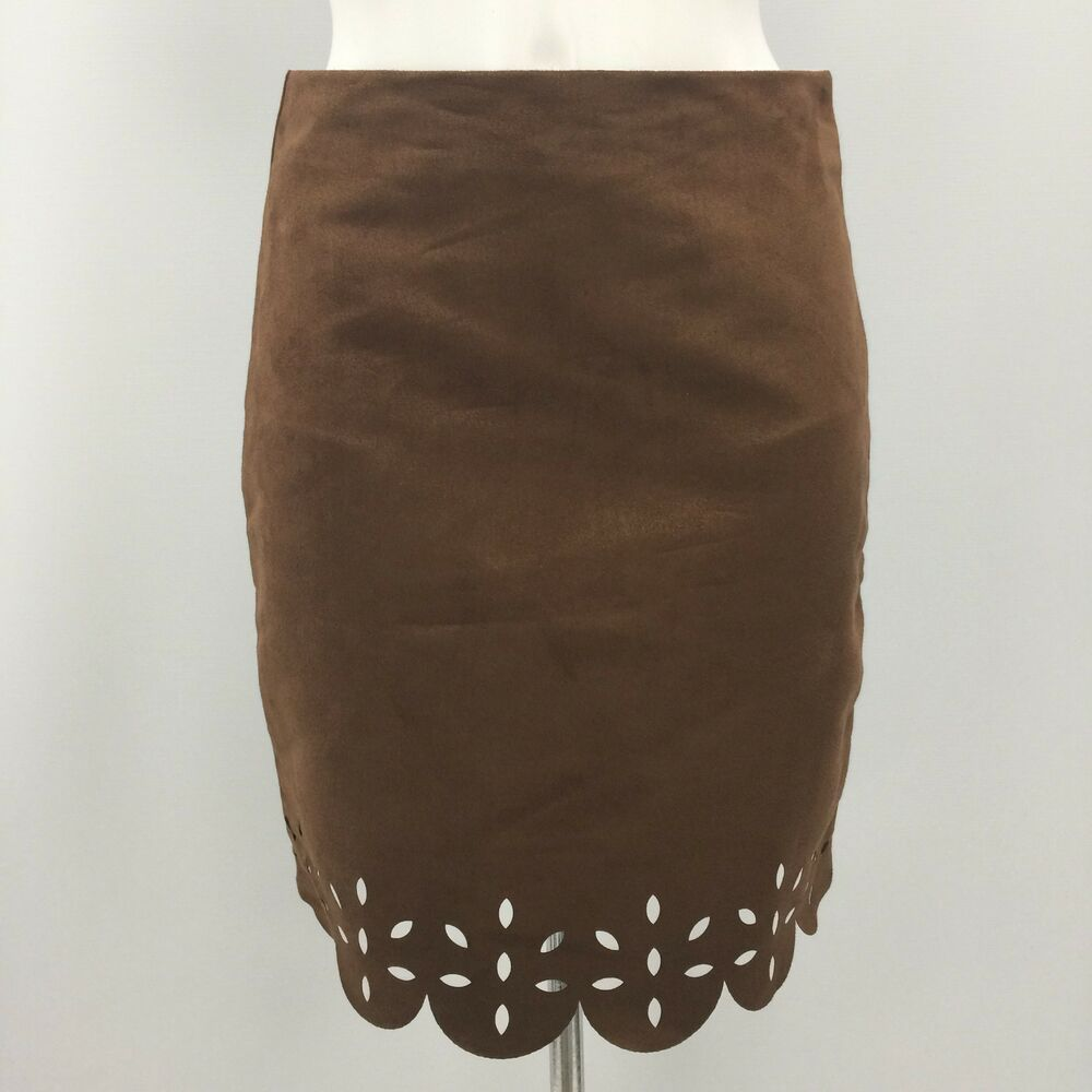 9d2bfdf2ff NEW MATALAN FALMER Brown Faux Suede Skirt Scalloped Cut Out Size UK 8  WE451252  fashion