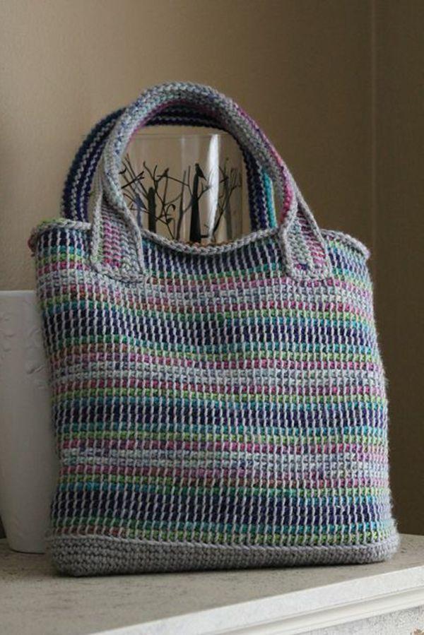 Tasche Tunesisch Gehäkelt Crochet Pinte
