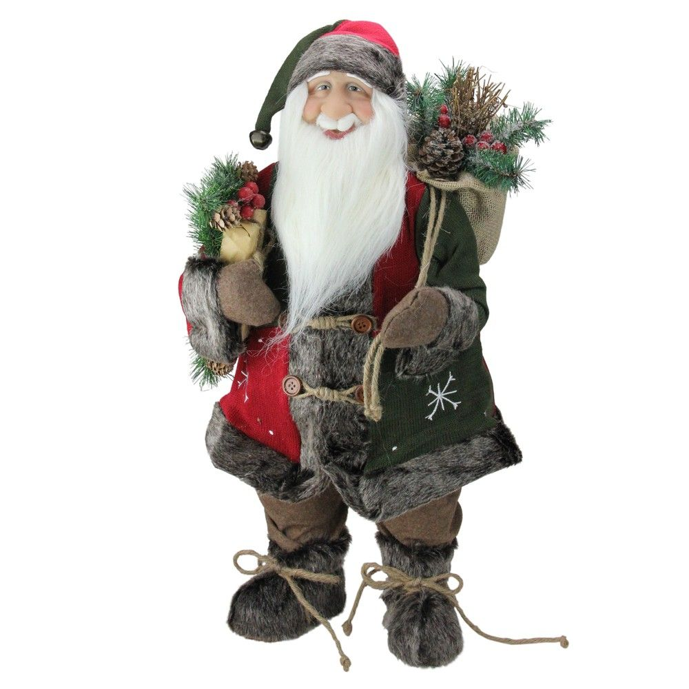 Northlight 24 Country Rustic Standing Santa Claus Christmas Figure With Knitted Snowflake Jacket Red Christmas Snowflakes Christmas Snowflakes