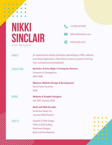 Colorful Funky Shapes Creative Resume | Resume | Pinterest