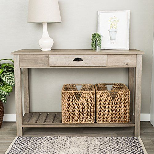 WE Furniture 48 Inch Country Style Entry Console Table Grey