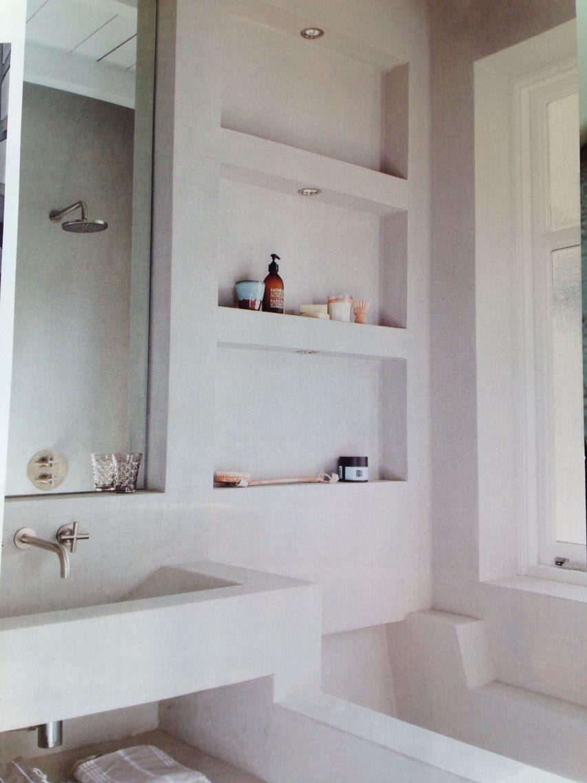 Gestuukte vakken in badkamer - beton ciré | Badkamers | Pinterest