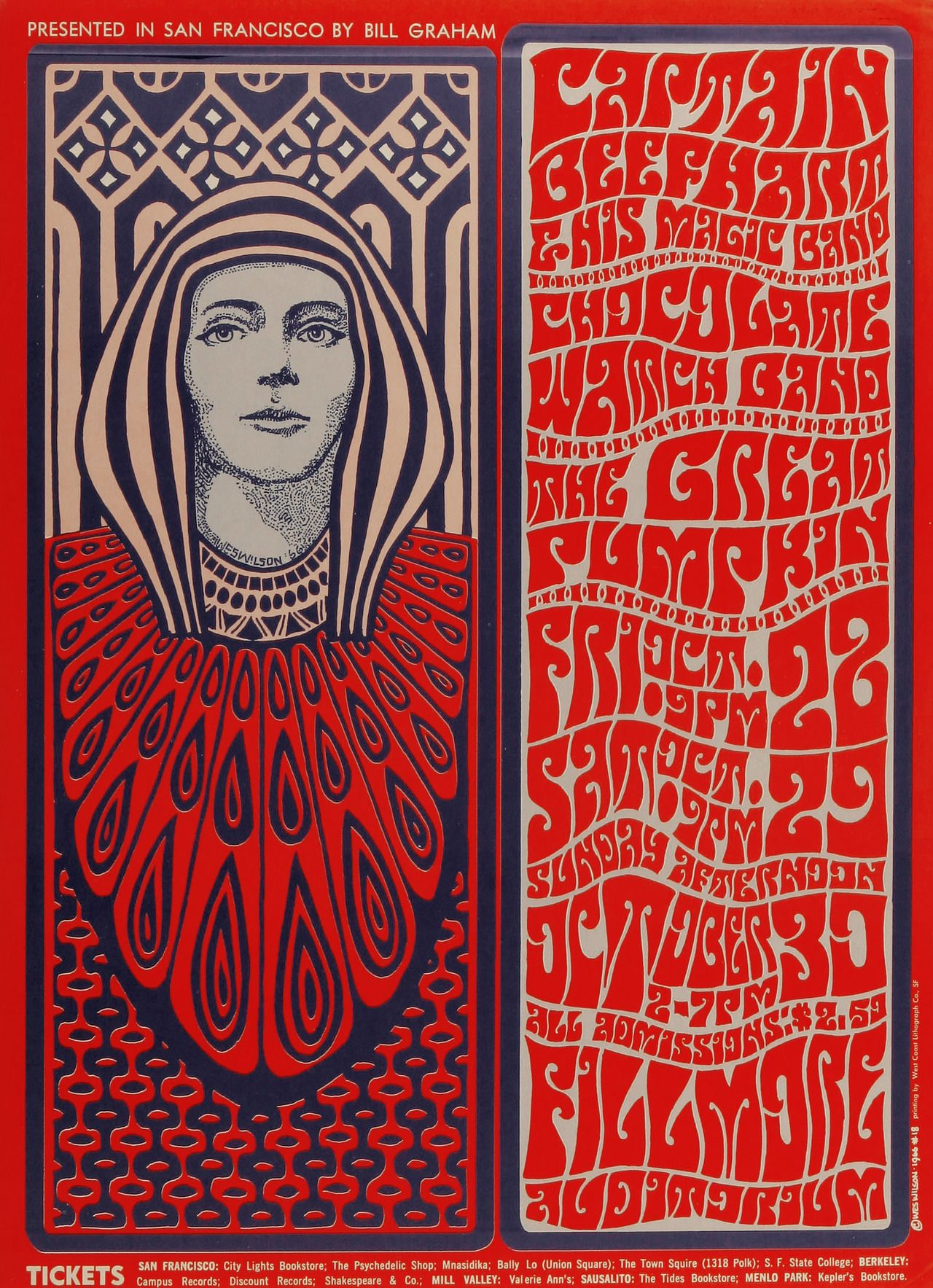 Poster Design Psychedelic Sixties Captain Beefheart The Magic Band The Chocolate Watchband Great Pumpk Psychedelic Poster Vintage Concert Posters Poster Art