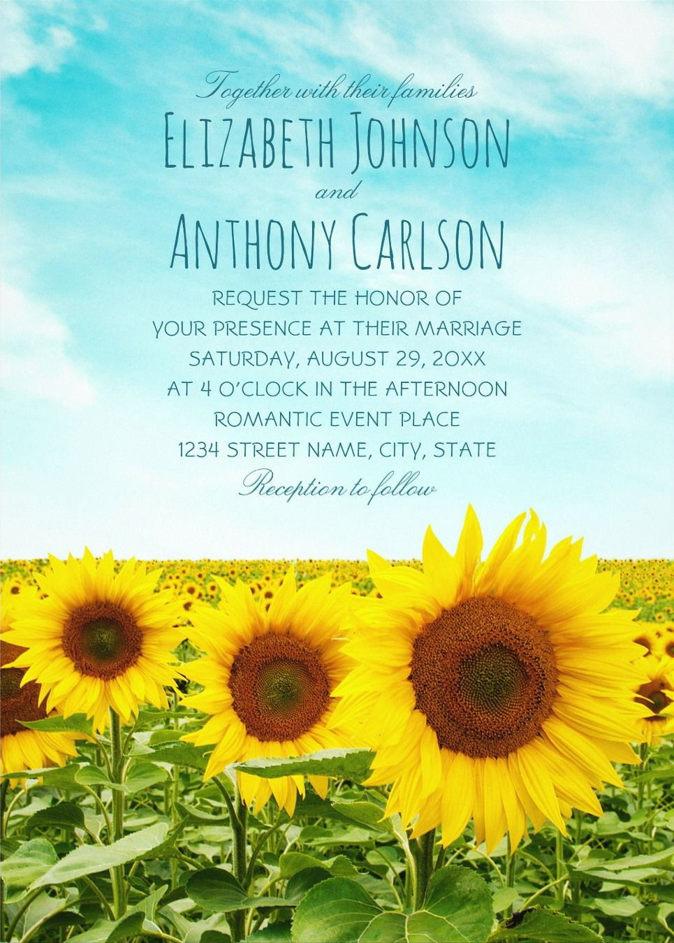 Sunflower Field Wedding Invitations Rustic Country Farm Wedding