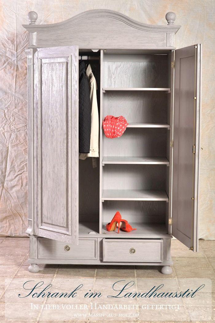 Landhaus Garderobenschrank 2 Turig Mit 2 Schubladen Und Spiegel Garderobe Schrank Garderobenschrank Holzschrank