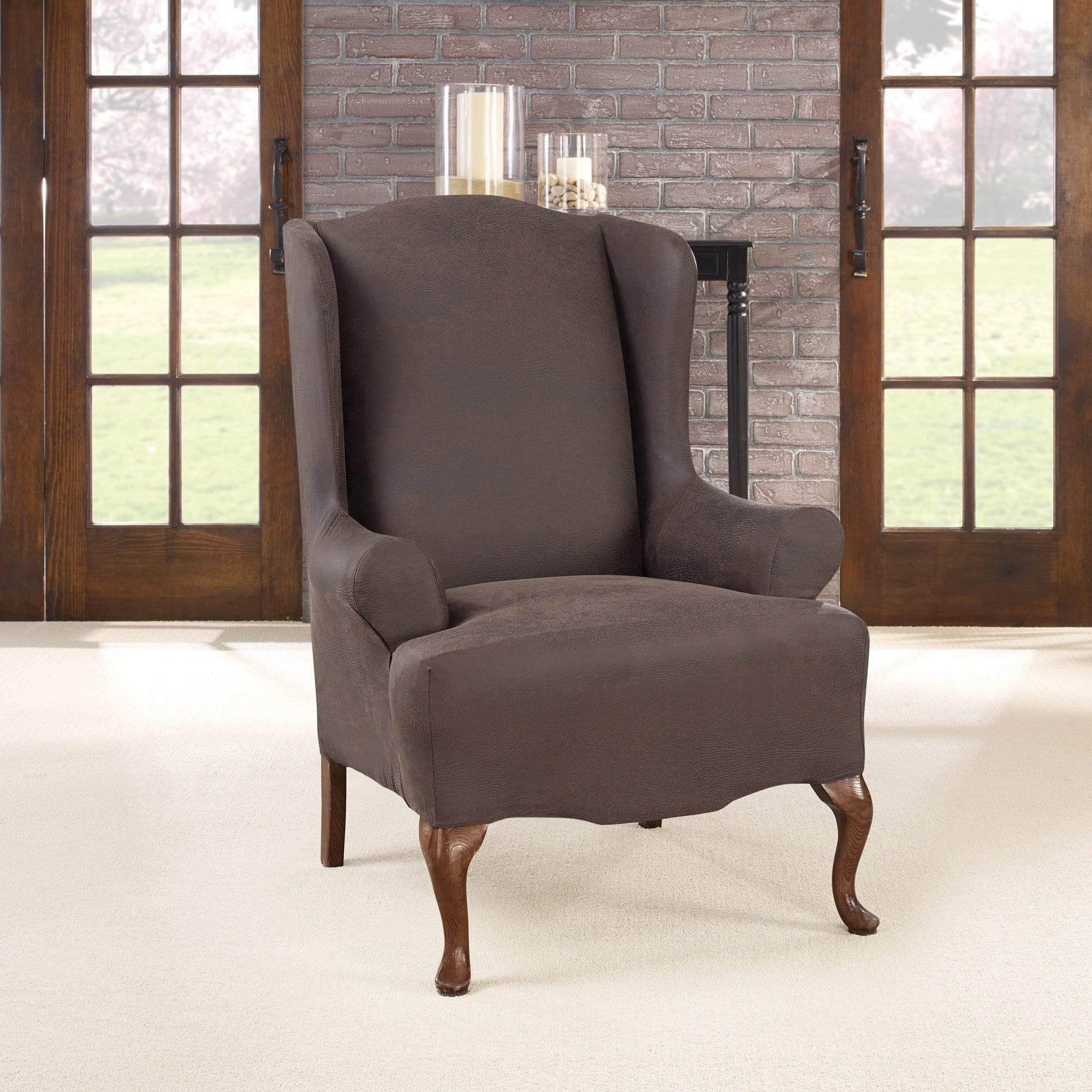 Ultimate Stretch Leather One Piece Wing Chair Slipcover Form Fit Machine Washable Slipcovers For Chairs Leather Wing Chair Slipcovers