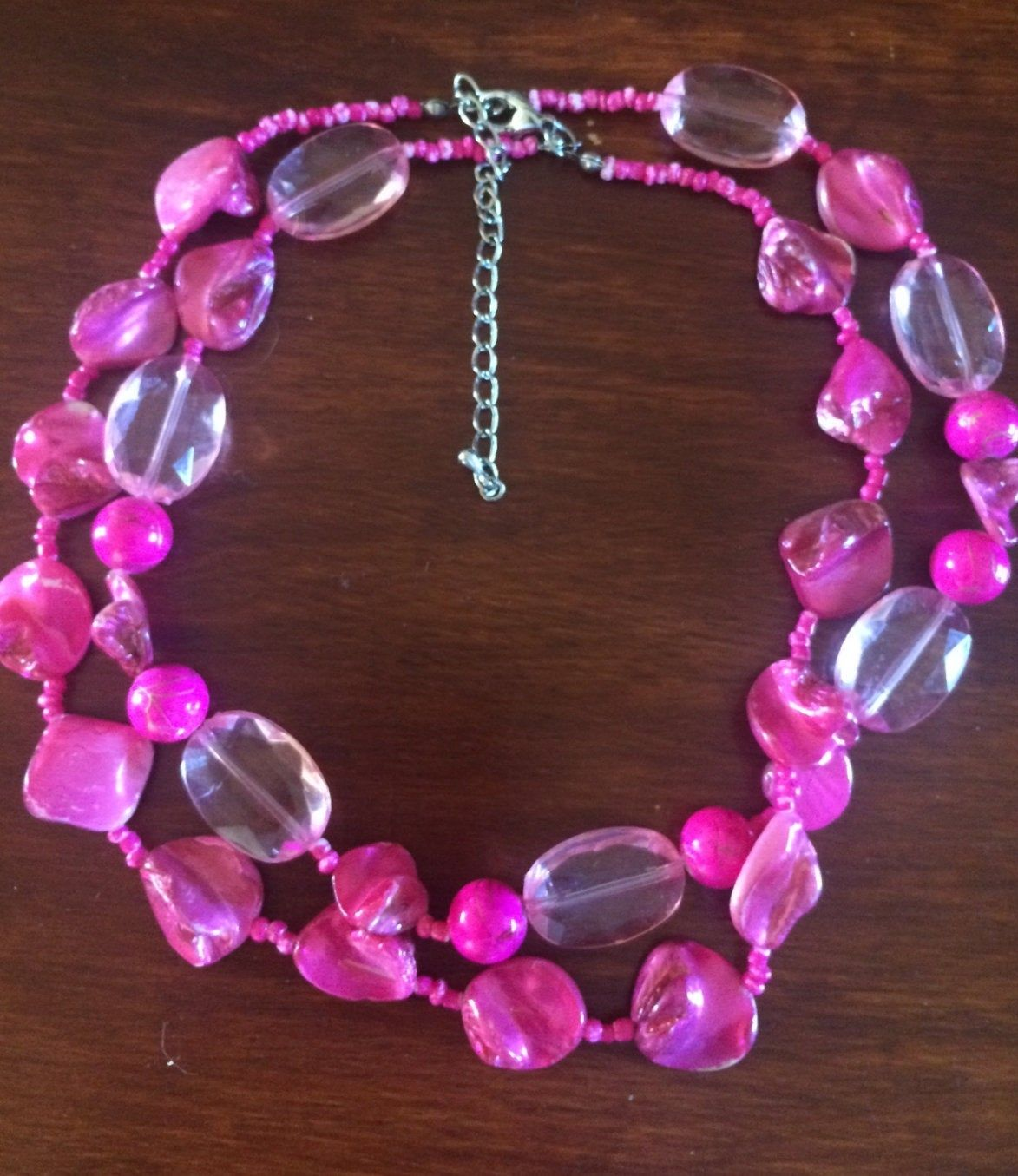 Pink Shell Beaded Twist Clasp Bracelet Costume Jewelry Fashion Accessory