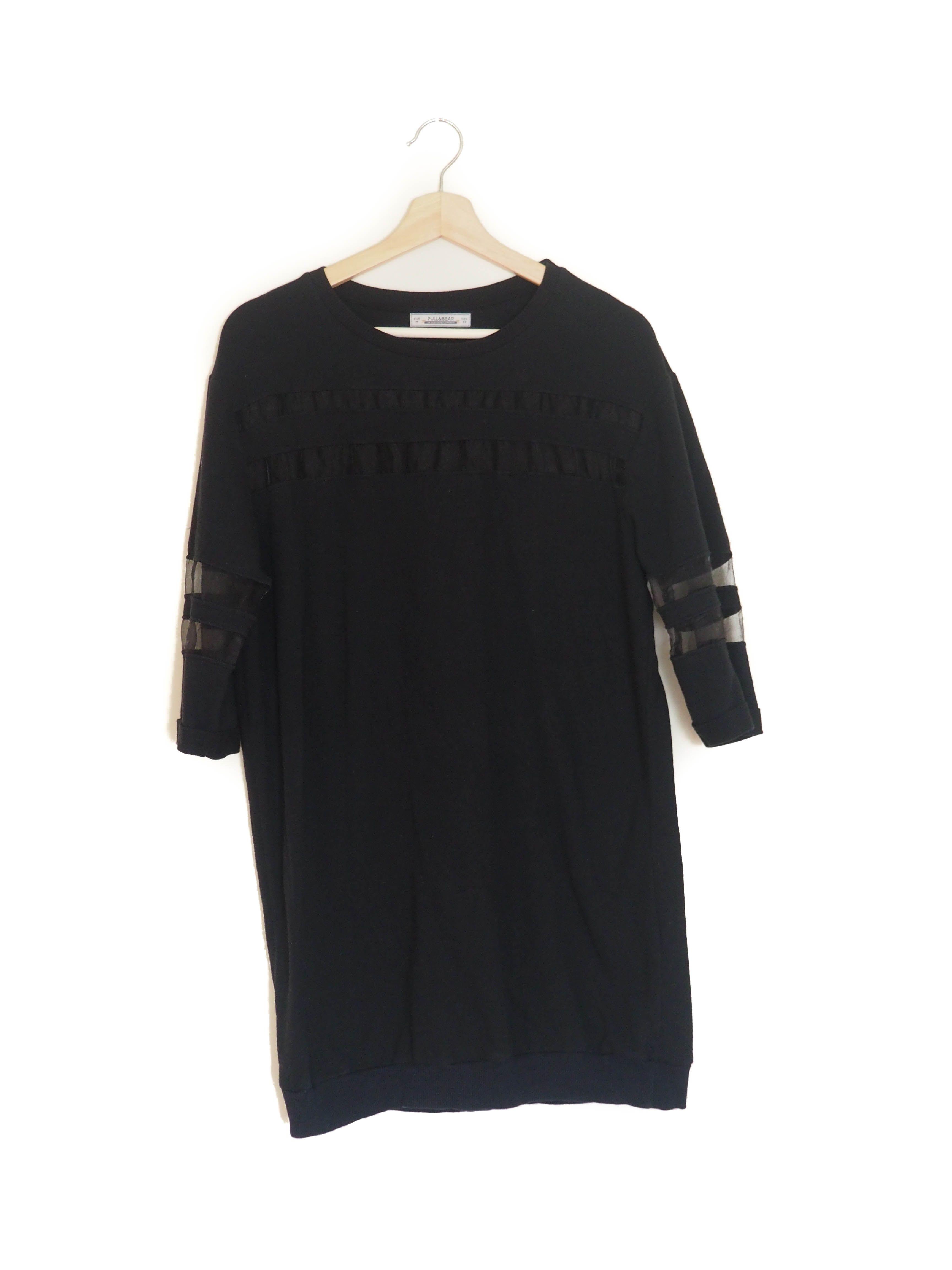 Sweater short dress black pullubear seethrough vestido sudadera