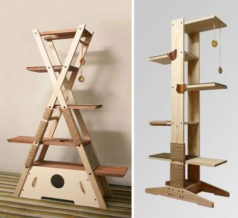 original cat tree made in wood un arbre chat original en forme de tipi panier et arbres. Black Bedroom Furniture Sets. Home Design Ideas