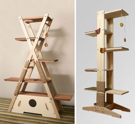 original cat tree made in wood un arbre chat original en forme de tipi panier et arbres. Black Bedroom Furniture Sets. Home Design Ideas