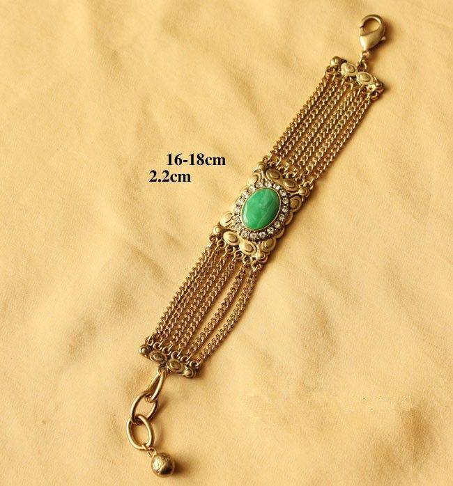 High Quality Metal Green Gemstone Exaggerated Bracelet LJ70 $30.00
