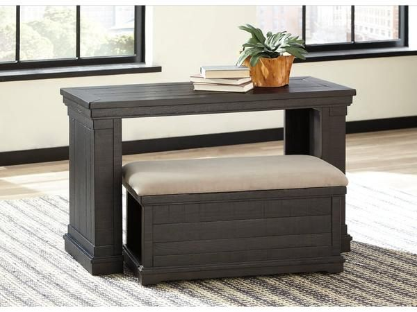 Sofa Table With Ottoman This Features A Nesting Mobile Bench Cushion Upholstered In Textured Light Brown Stain Resistant Microfiber