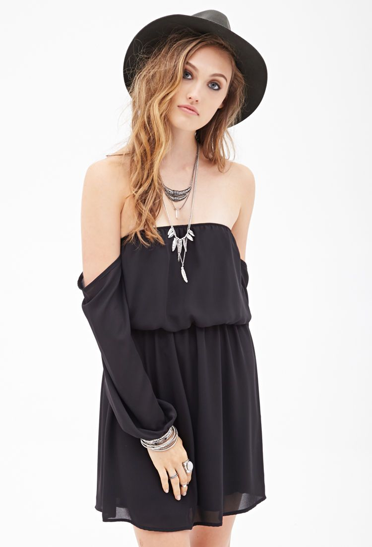 Chiffon Off-the-Shoulder Dress #F21StatementPiece