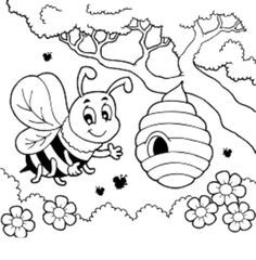 Kleurplaten Bijenkorf Google Zoeken Bee Coloring Pages Bee