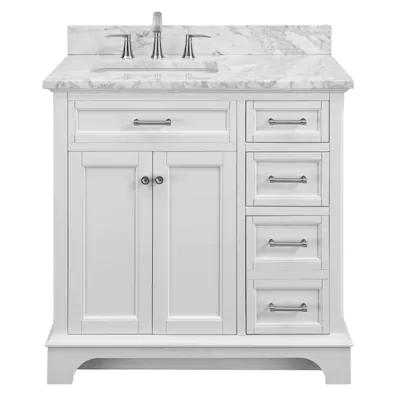 Scott Living Roveland 36 In White Single Sink Bathroom Vanity With Natural Carrara Marble Top At Low White Vanity Bathroom Bathroom Vanity Bathroom Sink Vanity