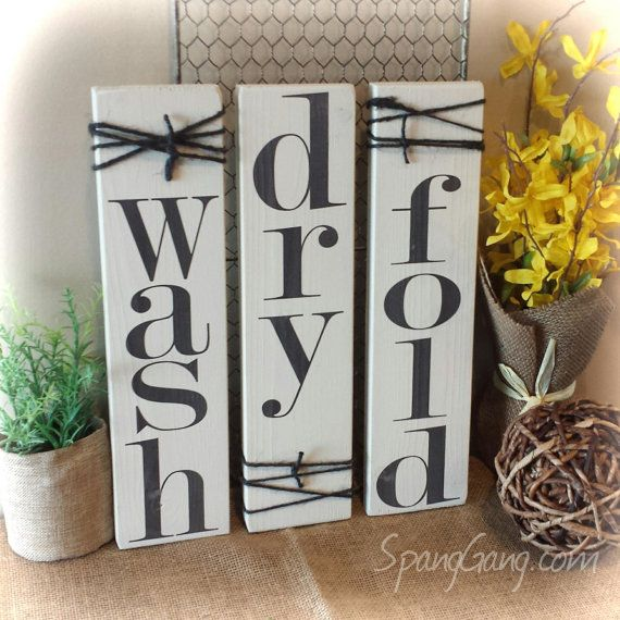 wash dry fold Laundry Room decor signs Set of 3 rustic pallet