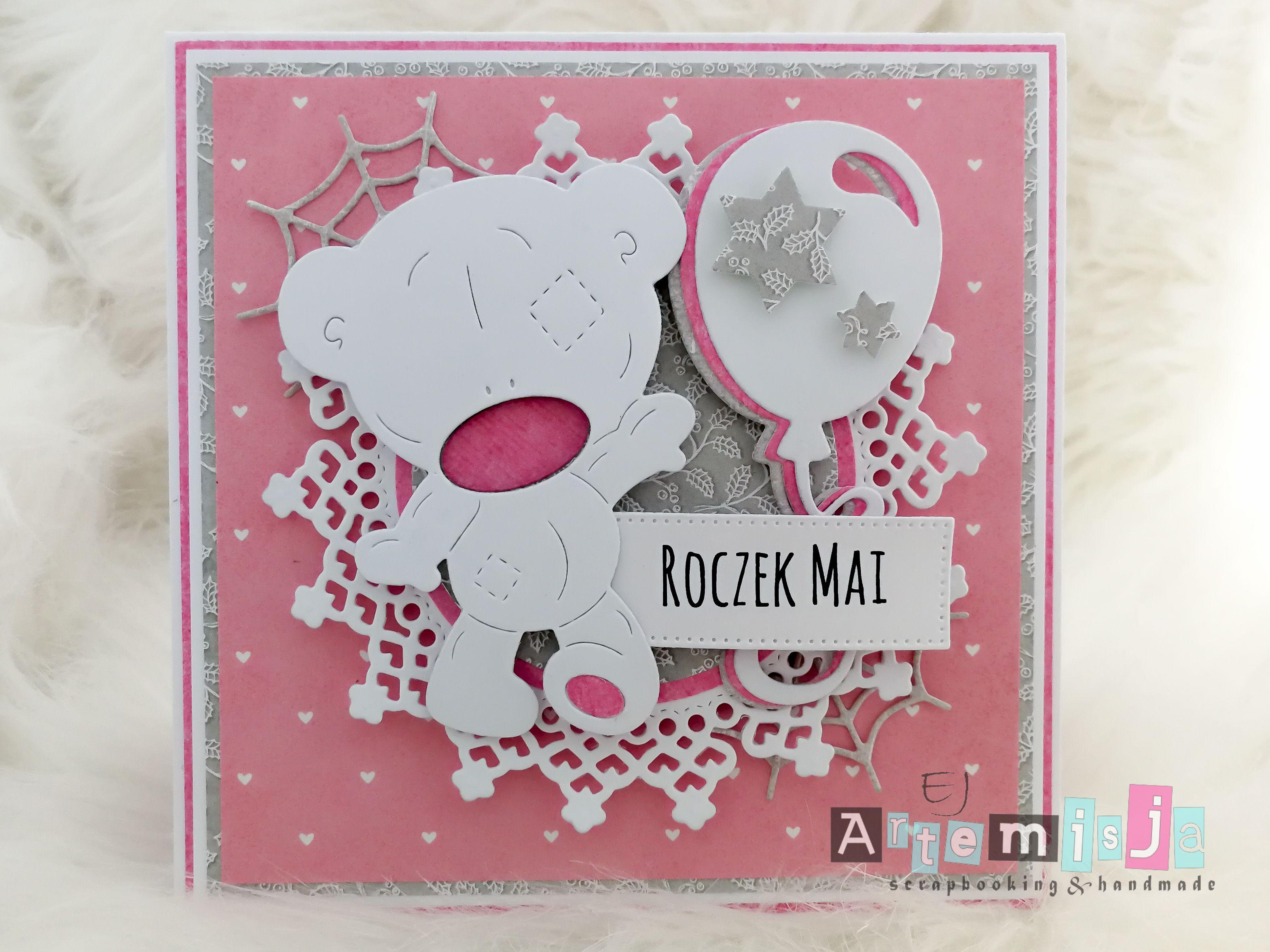 Kartka Na Roczek Dla Dziewczynki Duzy Mis A Card For 1