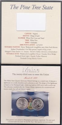 2003  U.S. MAINE MINTED, UNCIRCULATED QUARTERS  THE 23RD STATE TO ENTER INTO THE UNION  MARCH 15, 1820  THE MAINE STATE QUARTER SHOWCASES MAINE'S HERITAGE AS A COASTAL STATE.  IT FEATURES A LIGHTHOUSE ON A ROCKY SHORELINE AND A SCHOONER AT SAIL.  THE DE...