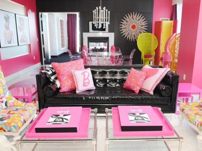Modern contemporary living room with dominance pink accessories ...