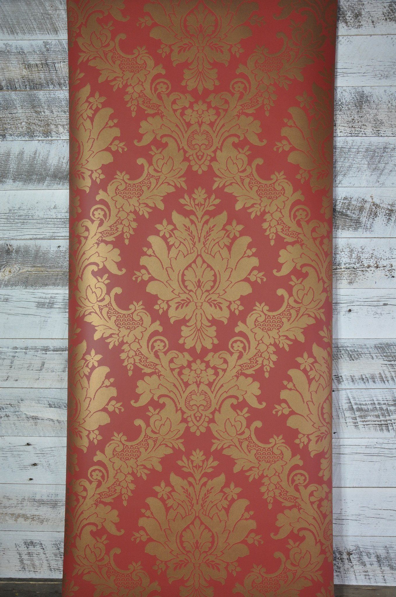 Dramatic Red and Gold Large Damask Wallpaper Damask