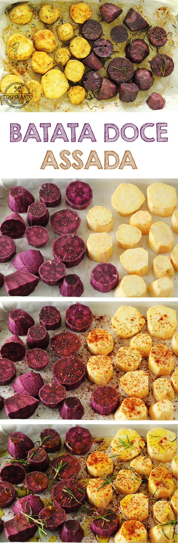 BATATA DOCE ASSADA - Como preparar deliciosas batatas doces no forno, temperadas e bem saborosas. Ótimas para acompanhar grelhados sem peso na consciência e se manter na dieta   temperando.com #batatadoce #receita #dieta