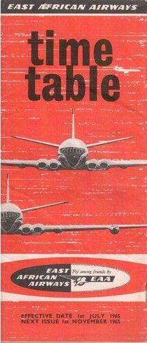 East African Airways Timetable 1965