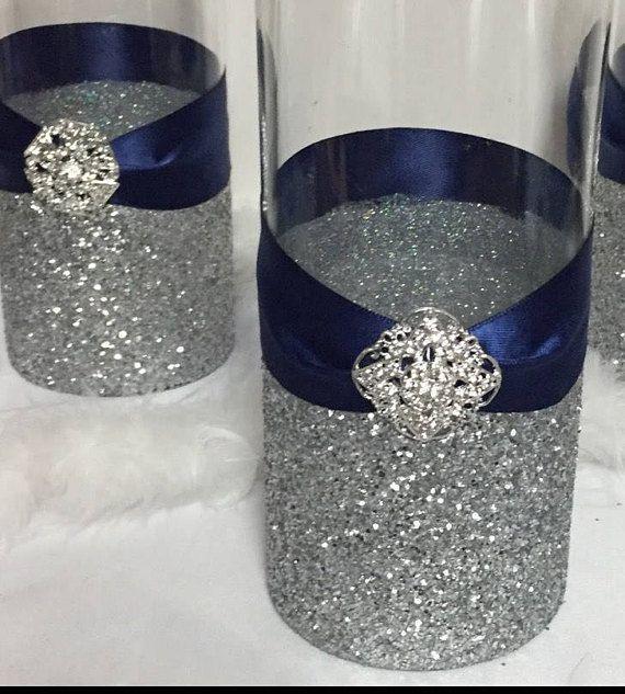 Wedding Centerpiece, (1) silver glitter vase, navy blue wedding ...