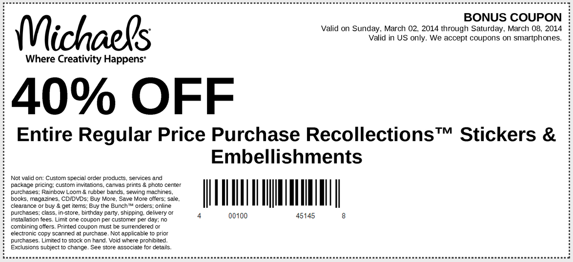 Michaels, Joanns, Hobby Lobby, AC Moore Coupons New