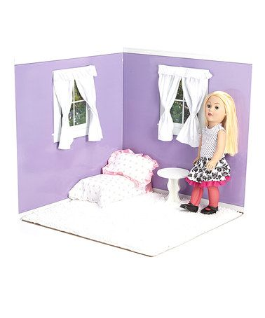 Take a look at this Purple & White 18'' Doll Room Set by American Doll Room on #zulily today!
