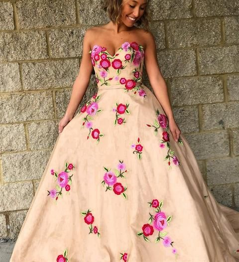 3fd6acca03 Gorgeous Sweetheart Champagne Long Prom Dress with Floral Embroidery ...
