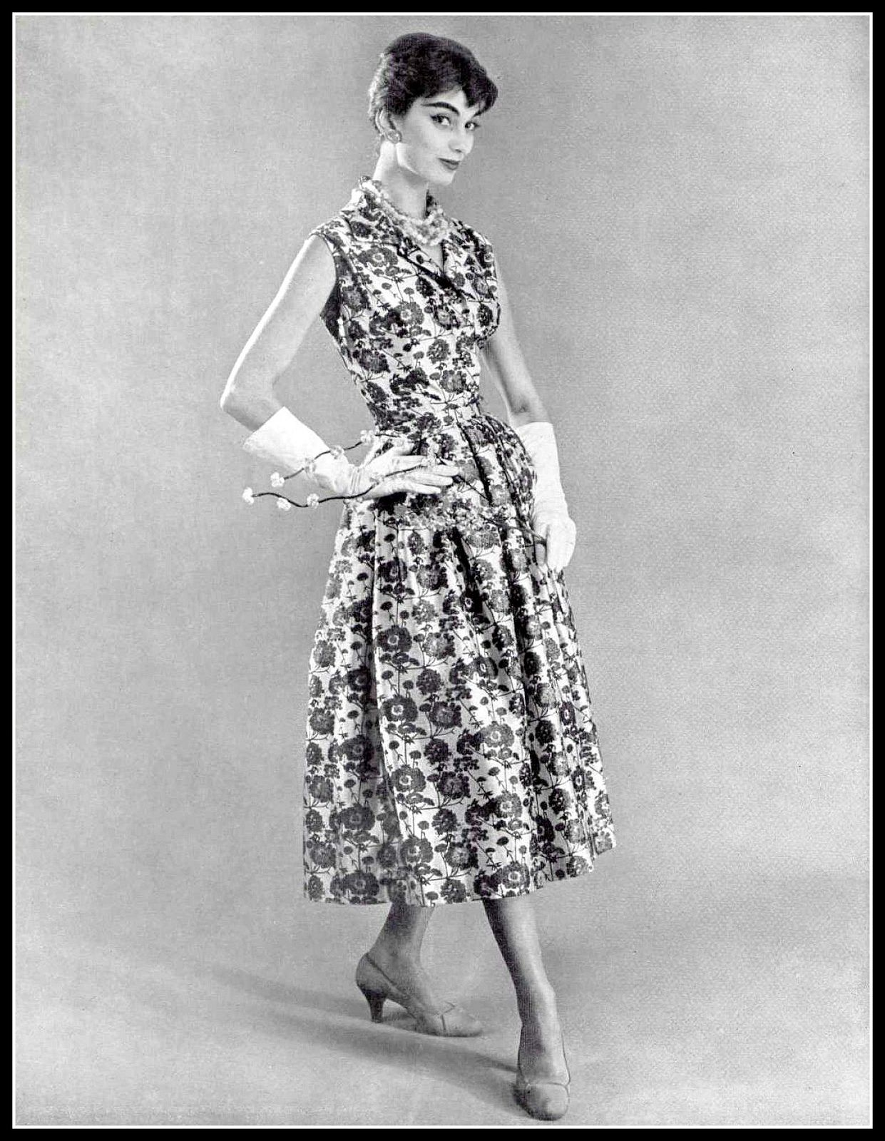 Marie-Hélène in floral print dress by Christian Dior, photo by Guy Arsac. 1955