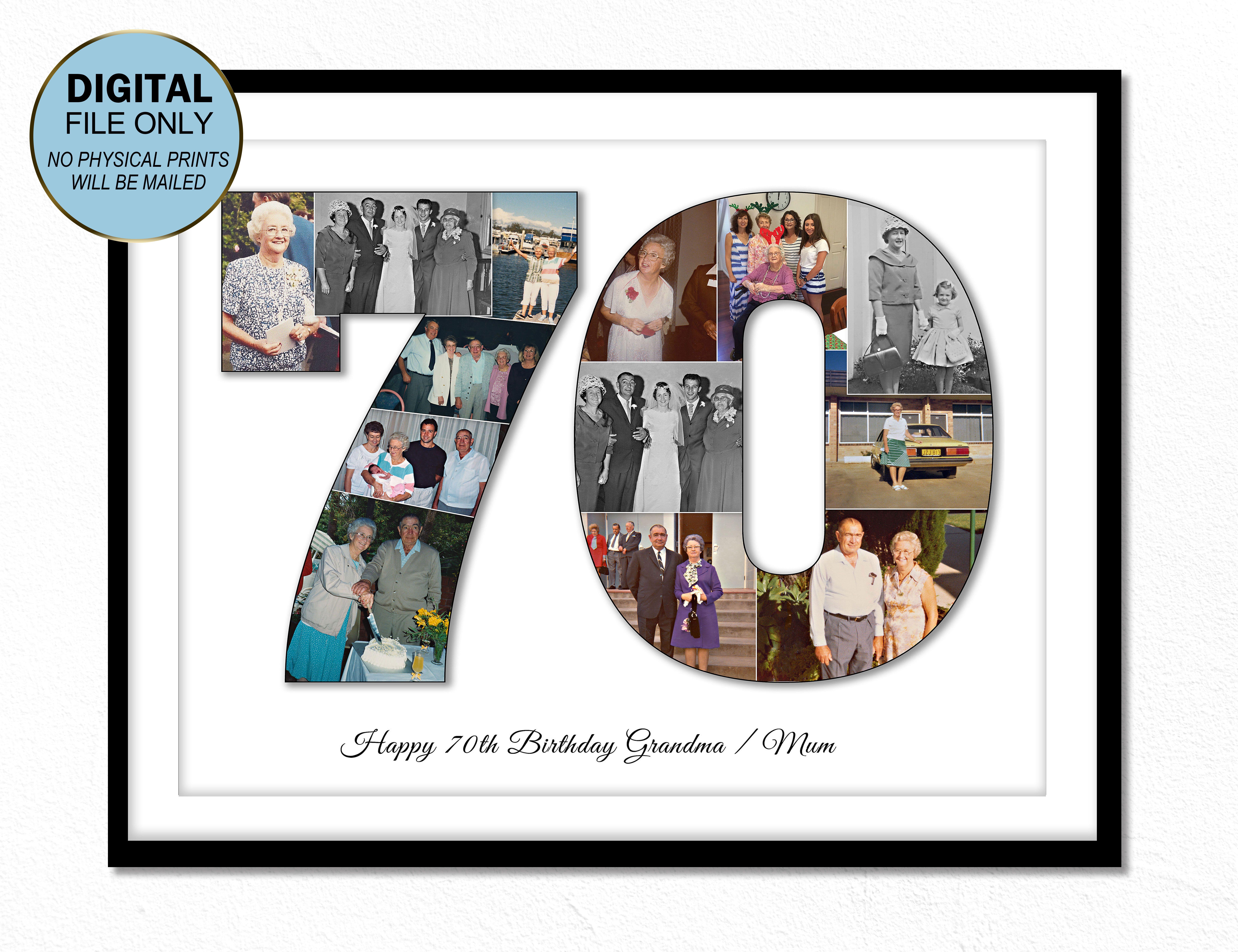 70th Seventy Birthday Gift For Grandma 70th Seventy Gift Ideas Etsy Birthday Photo Collage Birthday Gifts For Grandma Birthday Photos
