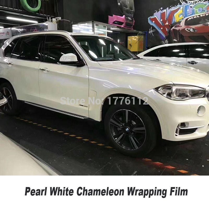 Gloss Pearl White to Blue VINYL Car Wrap FILM Air Bubble