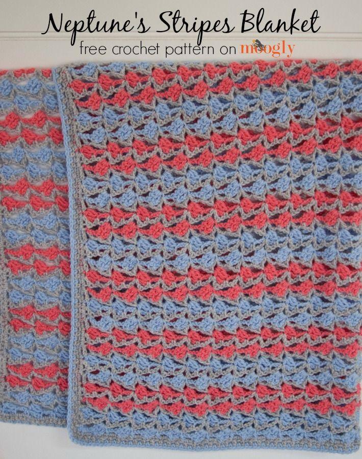Neptune\'s Stripes Blanket | puntos en crochet | Pinterest | Manta ...