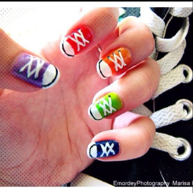 Nail Art Couture Converse Nail Art: Converse Nails! Super Cute Back-to-school Nails!! #mani