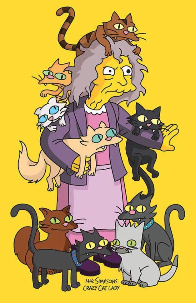 Crazy cat lady | Personajes de los simpsons, Dibujos de