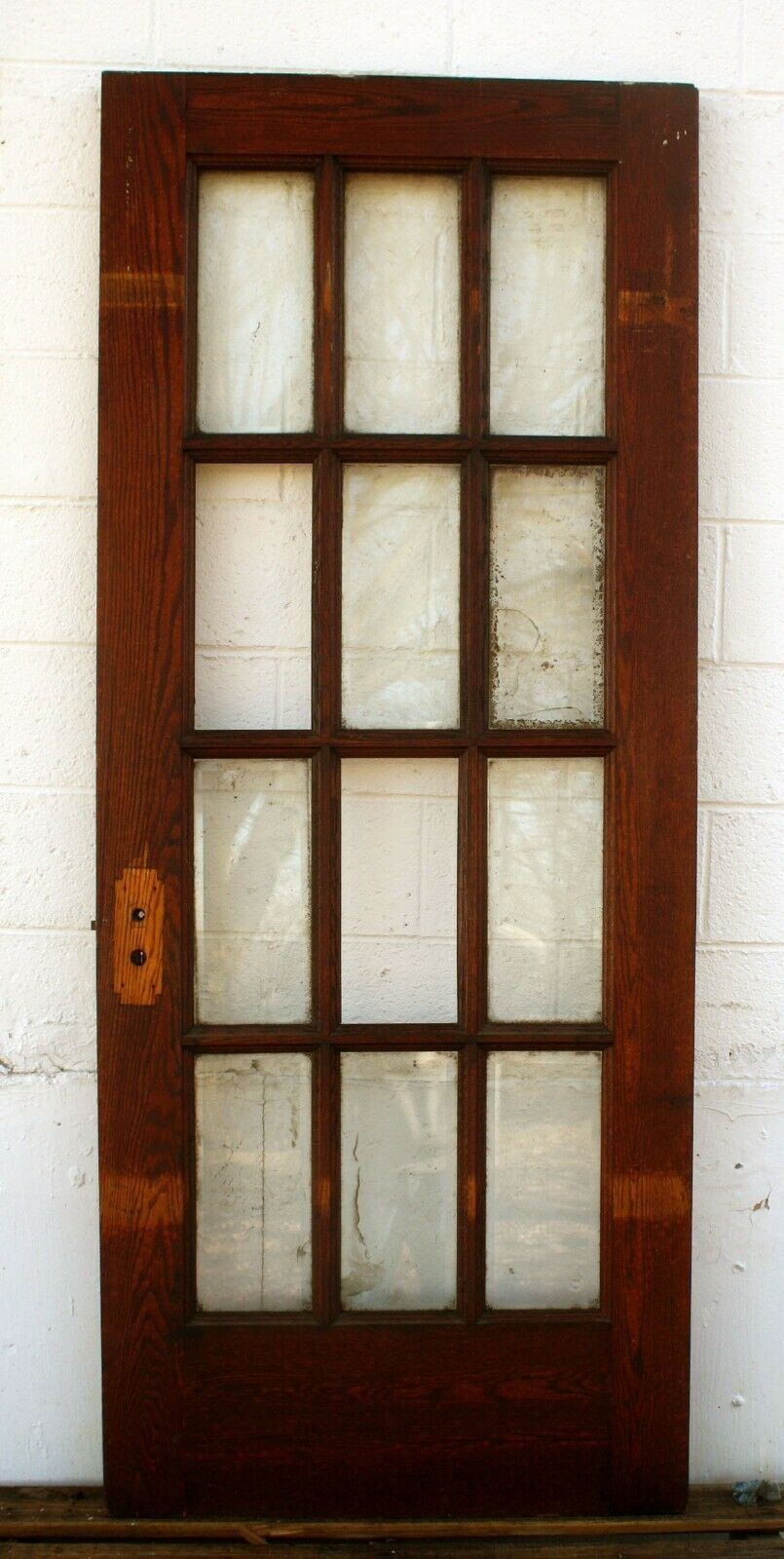 32 X80 X1 75 Antique Vintage Oak Wood Wooden French Door 12 Window Beveled Glass Wooden French Doors Antique French Doors Beveled Glass