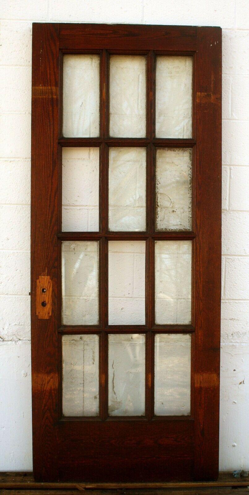32 X80 X1 75 Antique Vintage Oak Wood Wooden French Door 12 Window Beveled Glass Wooden French Doors Antique French Doors Beveled Glass