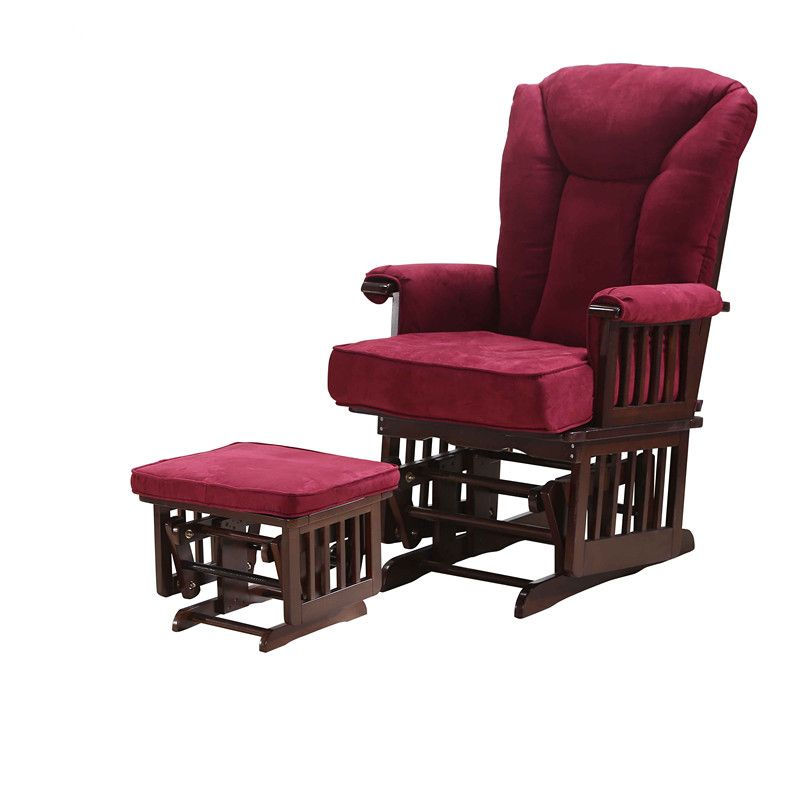 Modern Wood Glider Rocker Ottoman For Baby Nursery Furniture Living Room Rocking Chair Armchair With Removable Cushions Red China Mainland Sillones