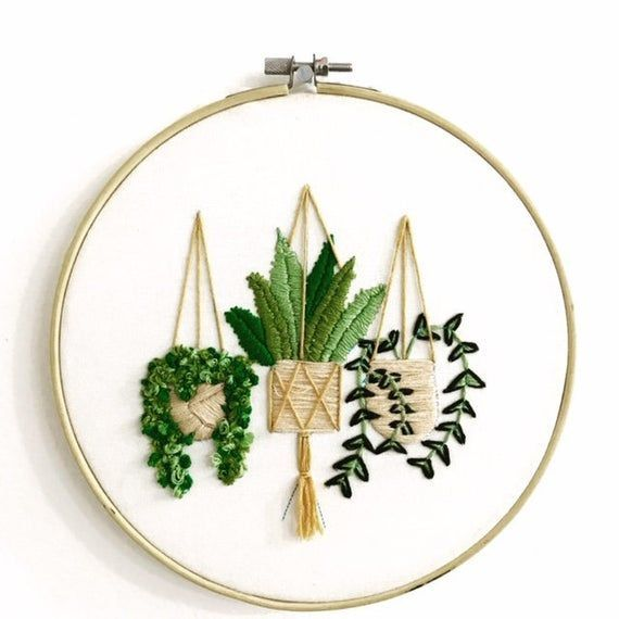 Plants Embroidery Beautiful bamboo hoop wall hanging of embroidered hanging plants. Perfect as a gift, or for decoration anywhere in your home! Each hoop is made to order and will need a week to be completed. Various sizes available. -4.2 inches -6.2 inches -8 inchesBeautiful bamboo hoop wall hanging of embroidered hanging plants. Perfect ...