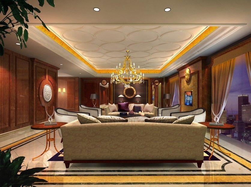Beautiful Lighting With Nice Pop Ceiling Living Room