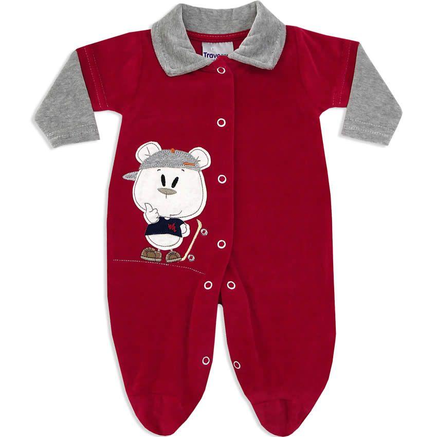 6b821dab4cbf44 Macacão Longo em Plush Masculino para Bebê Vermelho - Travessus ...