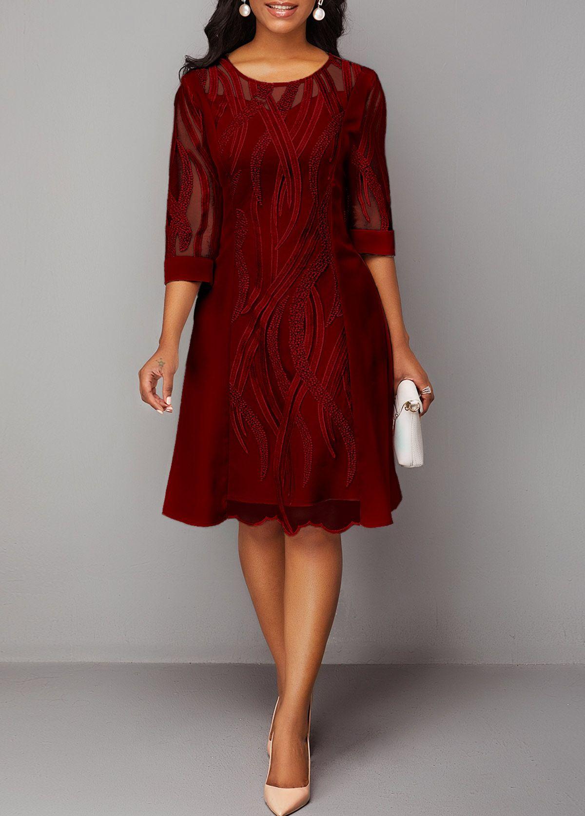 Wine Red Round Neck Back Zipper Lace Dress Rotita Com Usd 34 63 Lace Dress Shop Red Dress Womens Dresses [ 1674 x 1200 Pixel ]