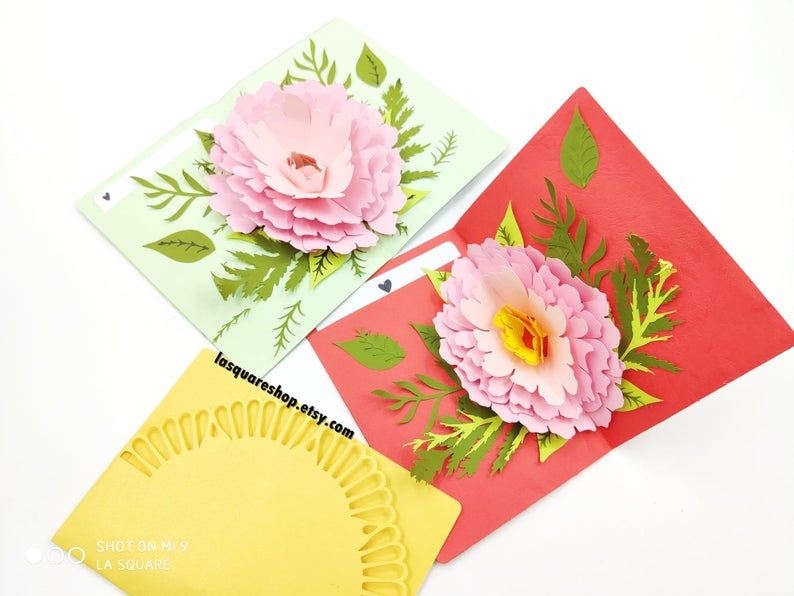 3d Pop Up Greeting Card Diy Flower Pop Up Card Printable Etsy Pop Up Card Templates Pop Out Cards Greeting Cards Handmade