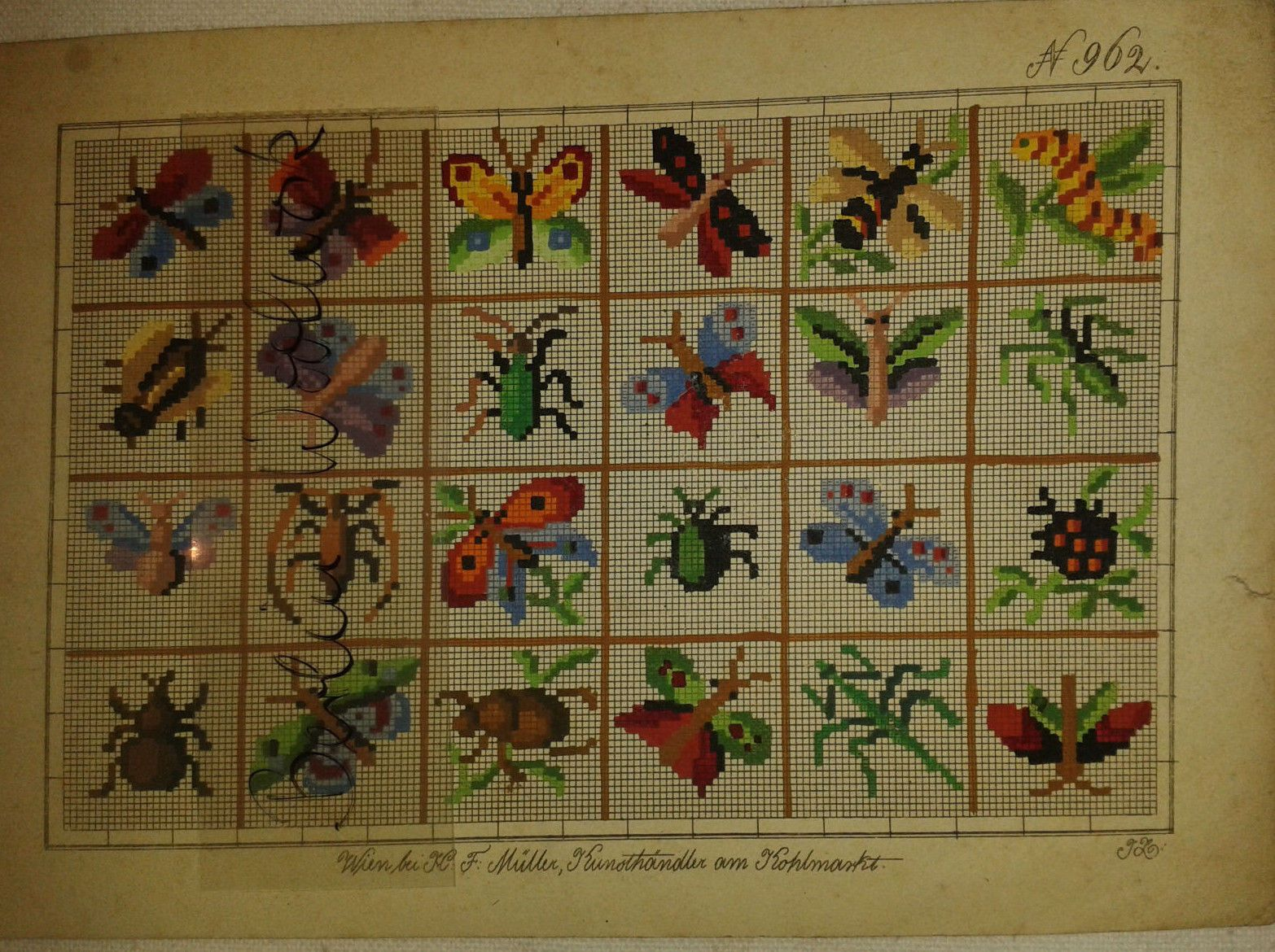 berlin woolwork insect patterns produced by h f muller berlin woolwork needlepoint. Black Bedroom Furniture Sets. Home Design Ideas