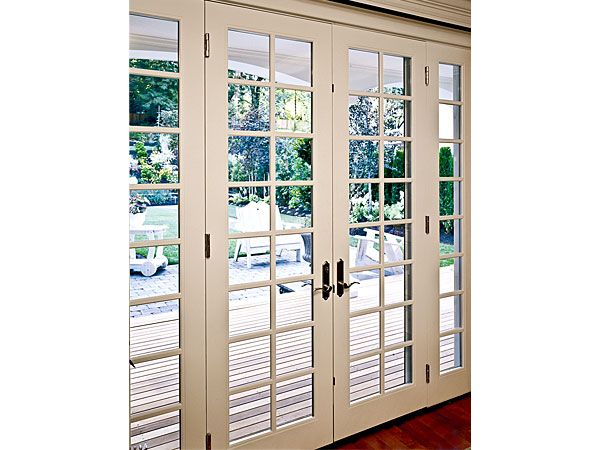 Lovely French Door With Sidelights And Classic Grid Pattern  To Replace  Annoying Sliding Door To Deck.