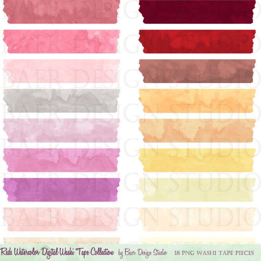 Washi Tape Clip Art Clip Art Watercolor Clip Art Commercial Etsy Pink Watercolor Washi Tape Washi